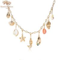 DIY Sommer Urlaub Halskette Meeresgeschichte Gold Farbe Perlenstern Nette Muschel Meerjungfrau Charms Spezielle Halskette für Frauen Geschenke