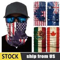 USA Stock Flagga Mode Trendig Magic Bandana Multifunktionell Flagg Skriv ut Ridning Ansiktsmask Kausal Män Turban Kvinnor Utomhus Scarf FY7137