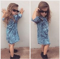 Autumn Ins Fashion Kids Baby Girls Vestidos ocasionales Túnica Top Jeans Dreeses Tops Tops Camisas para 1-7T