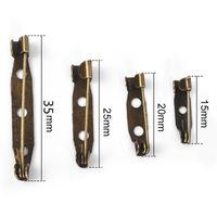50pcs 15/20/25 / 35mm Hierro Broche Base Clip Safty Broche Volver Pins Bar Placa de soporte para DIY joyería que hace fuentes Hallazgos