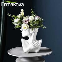 Ermakova nórdicos Cerâmica Vaso Cabeça Humana Resumo do meio corpo Flower Pot Flor Arranjo Face Humana decoração home moderna