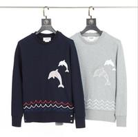 Neue Männer und Delphin Stickerei der Frauen Pullover Korean lässige Baumwolljacke mit langen Ärmeln T-Shirt-Jacke freiem Verschiffen