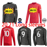 2020 2021 Haut FC GREENWOOD Rashford Pogba SANCHO soccer jersey à manches longues Manchester BRUNO FERNANDES UNITED Utd homme maillot de football