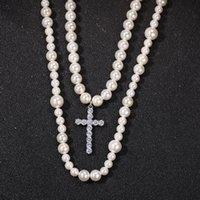 pendentif croix Set double collier de perles, neckalces mode hiphop, 8-10mm perle Mix collier pendentif croix NNS1315