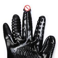 Yapay Penis Mastürbasyon Su Geçirmez Siyah Dildos Eldiven Yetişkin Vibratör Flört Eldiven Kadın G-Spot Titreşimli Seks Oyuncakları PVC Ürünler için Vlgk