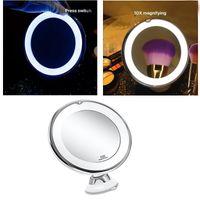 10X Maquillage Miroir grossissant Vanity avec lumière, LED Lighted cosmétiques Grossissement lumière maquillage lentille éclairage blanc pour la maison Tabletop