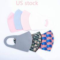 US Stock Adult Ice Silk Face Masks Fashion Solid Color Designer Mask Reusable Washable Protective Dustproof Earloop Cloth Masks FY0031