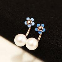 novos brincos estilo simples high-end traseira pendurado pérola coreano para mulheres negras e brancas flores azuis moda brincos de presente de jóias brincos