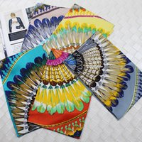 New Wide Ribbon Silk Double-sided Printing Feather Tribe Ribbon Hair Band Silk Scarf Scarf