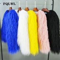 FQLWL Красочный Теплый Поддельный Женщины Шуба Плюс Размер Черный Белый Розовый плюшевый пальто Женщины куртка Мех Осень Зима Shaggy Верхняя одежда