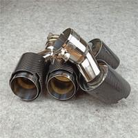 1 زوج مدخل 63mm والمصقول ألياف الكربون Y العادم نصائح 304 الفولاذ المقاوم للصدأ لAkrapovic الكربون الخمار فوهات أنابيب العادم