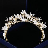 Copricapo nuziale corone di nozze corone farfalla fiore cristallo corona copricapo dorato corona barocco corona accessori da sposa gioielli Bridal Tiara