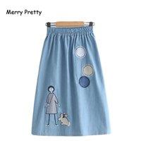 Юбки веселые красивые джинсовые женские мультфильм вышивка 2021 осенняя эластичность талия A-Line Femme девушка джинсы юбка