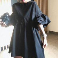 Korean Black Women Ruffle Long Blouse Oversize 2020 Janpan Style Loose High Waist Female Shirts Kawaii Tops Blouses Cute 2020
