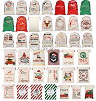 40 Style de Noël Père Noël Sacs Sacs cadeaux Grand sac fourre-tout organique lourd Père Noël Sac de jute Sac à cordonnet avec Reindeers Parti de Santa Claus Sacs Sack