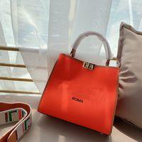 Bolso de mano de lienzo de lienzo de señoras Mujeres Arco iris Strap Strap Handbag Classic Square Shopper Bolsa de asas Múltiples colores