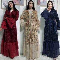Açık Abaya Dubai Kimono Türk Hicap Müslüman Elbise İslam Giyim abayas İçin Kadınlar Kaftan Marocain Fas Kaftan Djelaba