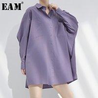 Рубашки женские блузки [EAM] Женщины фиолетовый Краткая негабаритная длинная блузка отворот рукава свободная подходит рубашка мода прилив весна осень2021 1W78714