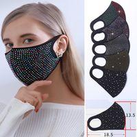 DHL Flash-Mädchen-Diamant Rhinestone-Stern-Gesichtsmaske Designer Nachtclub-Party Personalisierte Customization wiederverwendbare Maske staubdichte Anti-Fog