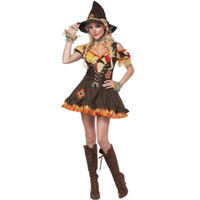 Halloween Costume The Wizard of Oz Scarecrow Drama Stage Costumes Women Festival Theme Clothing Womens Cosplay Clown