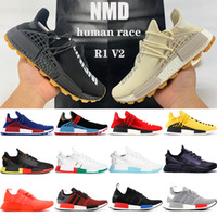 مع مربع سباق NMD الإنسان فاريل وليامز الرجال الاحذية اللانهائي الأنواع حزمة الشمسية R1 V2 الثلاثي بيضاء اللون البرتقالي الأزرق الرجال النساء أحذية رياضية
