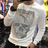 2020 осени новых люди пуловер хлопок трикотажной Перемычка череп печатного свитер Street Hip Hop Streetwear Красивого Модельер Толстовка O шеи