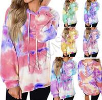 Женщины Толстовки Дизайнер футболки Осень с капюшоном свитер с длинным рукавом Одежда Gradient Блуза WALF Чеки Tie окрашенная Толстовки Топы S-2XL D81102