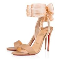 Mulheres Sexy vestido de noiva de salto alto Sandálias Vermelho Bottons para mulheres Sandálias, Nome Design Red Soles Sapatos Sandale Crepe Satin Emperched