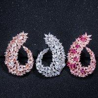 LUALA funken Zirkonia Silber-Farben-Frauen große Blumen-Band-Ohrringe für Bräute Hochzeit Schmuck Zubehör CZ416