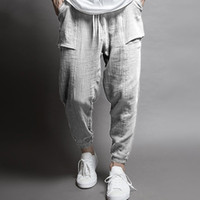 High Quality Mens Hip Hop Cotton Linen Pants Drawstring Wais...
