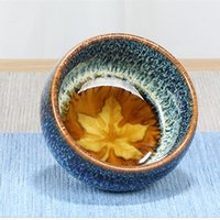 Kiln Change Traditional Tea Cup Ceramic Water Cup Creative Leaf Gift Single Teacup Ceramica Creativas