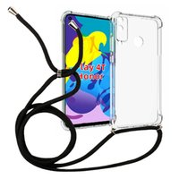 1.5mm Thicken Transparent Shockproof necklace crossbody Lanyard TPU 160cm rope Case for HuaWei Honor Play 4T Cell phone Cover