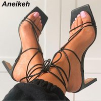 Aneikeh Sommer Frauen Schuhe Sandalen PU Gladiator Mode Schmalband Dünne Fersen Lace-up Knöchelgurt Party Quadratische Zehe Größe 35-42