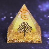 Orgonite pirámide árbol de la vida Energía The Lucky Ceregat Pirámide convertidor de la energía para reunir riqueza y la prosperidad Inicio resina ornamento decoración