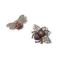 Lüks Tasarımcı Takı Kadınlar Broş Retro Böcek Arı Inci Pimleri ile Mavi Elmas Bakır Altın Kaplama Balbakısı Broşlar Moda Bijoux