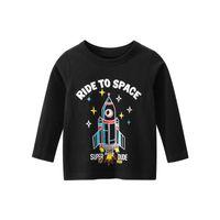 봄 소년 소녀 라운드 넥 T 셔츠 가을 아이들의 긴 소매 의류 블랙 옐로우 그레이 그린 레드 아이 탑