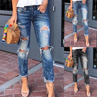 New fashion Ripped women jeans washed blue long skinny trous...