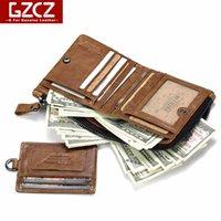 GZCZ Лучший из натуральной кожи мужчин бумажники Съемные карты ID Держатели с Key Chain Краткого Мужской Организатор Валет для мужчин монет Сумки 2020