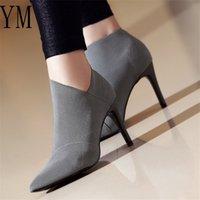 2020 Sapatinho Grey Moda Mulheres de salto alto Tamanho Grande 34-41 Feminino de salto alto botas jovens senhoras Sapatinho de 8,5 centímetros do salto de pano Botas