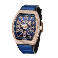 Elegante Blue Fashion Luxury Designer Alligator Pulseira de Couro Calendário Data de Quartz Bateria Relógios Para Homens Mulheres