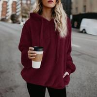 Tamaño Plus 2020 de las mujeres del color sólido del paño grueso suéter con capucha sudaderas con capucha de Calle Harajuku Outwear Sherpa Chaqueta