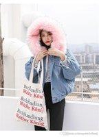 Adolescente para mujer Chaqueta vaquera para mujer gruesos pantalones vaqueros chaqueta del diseñador de moda collar de piel falsa casual de invierno de la chaqueta