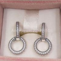 Authentique 925 Sterling Sterling Silver Strongs Boucles d'oreilles Double cervelle Église Convient aux goujons de style Pandora européen Bijoux 299052C01