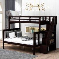 에스프레소 계단 스토리지 및 가드 레일 침실 기숙사가있는 트윈 - 오버 풀층 침대 잠자는 침대 LP000019AAP