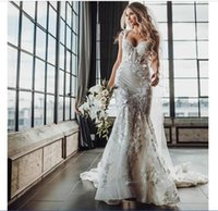 2020 Bohemia Wedding Dresses Spaghetti Straps Appliques lace Mermaid Bridal Gowns Custom Made Backless Sweep Train Wedding Dress