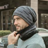 Inverno cappello di velluto di spessore Berretti Cappelli Sciarpa per il Mens caldo morbido e traspirante maglia di lana cappello di inverno Lettera Doppia LayersThick Cap