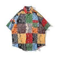Męskie koszulki męskie Koszula Paisley Bandana Sprawdź drukowane Człowiek Krótki Rękaw Top Hawajski Blusas Feminina Letnie Ubrania Drop