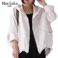 Max Lulu 2019 Jaquetas Moda Outono-coreanos do punk Streetwear encapuçado das senhoras de roupa das mulheres Vintage Oversized Denim Coats Plus Size CX200815