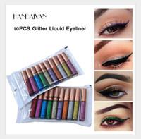 Líquido Sombra Longa Duração impermeáveis líquido Glitter Eyeliner lápis 10 cores brilhantes Shimmer Eye Liner Maquiagem delineador