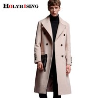 Holyrising Men Woolen Coats Long Wool Coat Turn Collar Casual Jackets Mens Overcoat Slim Wool Topcoats Plus Szie S-6XL 18552-5